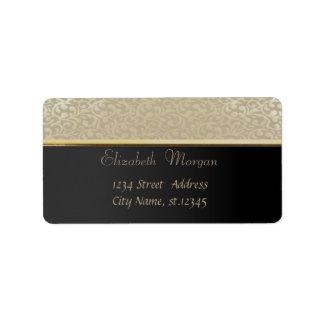 Elegant Glamorous Black,Damask Label