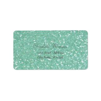 Elegant Glamorous Green  Glittery Address Label