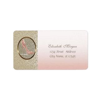 Elegant Glamorous  Stylish,Damask,High Heel Address Label