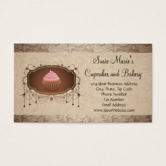 Elegant Glamour Mocha Damask Cupcake Business Card