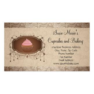 Elegant Glamour Mocha Damask Cupcake Business Card