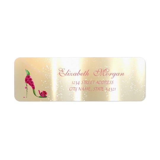 Elegant Glamourous , Floral Heels,Address Label Return Address Label