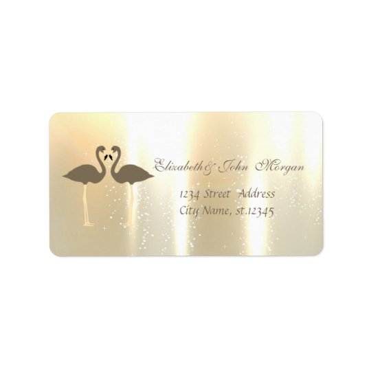 Elegant Glamourous Shiny ,Flamingos Label