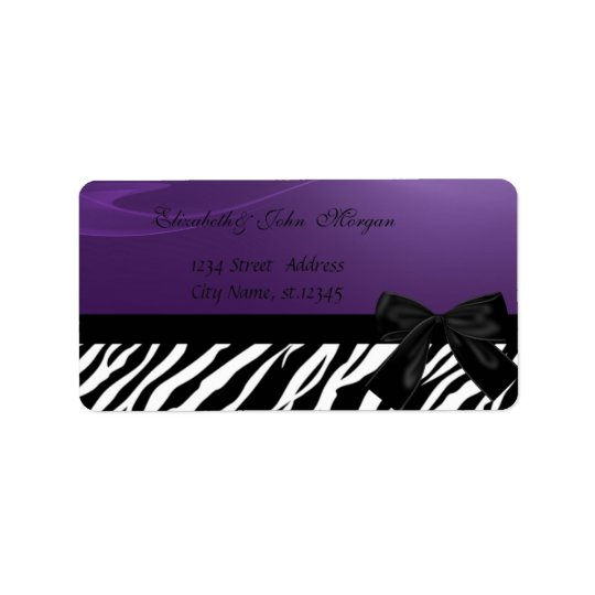 Elegant Glamourous  Stylish ,Purple ,Zebra Print Label