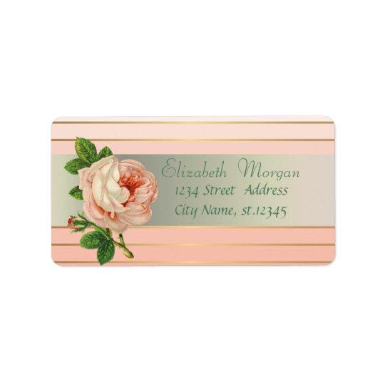 Elegant Glamourous Stylish Romantic,Stripes,Rose Address Label