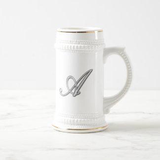 Elegant Glass Monogram Letter A Beer Stein