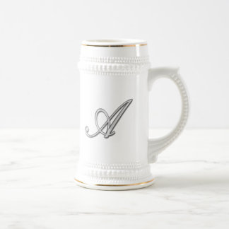 Elegant Glass Monogram Letter A Beer Steins