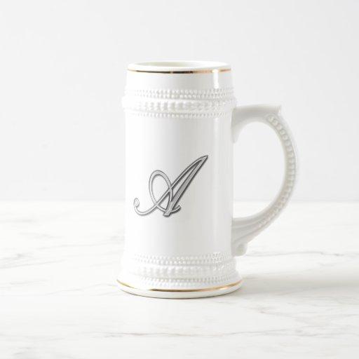 Elegant Glass Monogram Letter A Mugs
