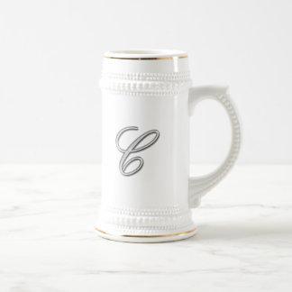 Elegant Glass Monogram Letter C Beer Stein
