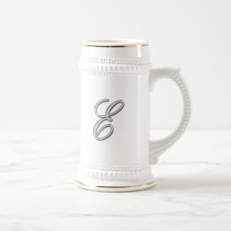 Elegant Glass Monogram Letter E Coffee Mug