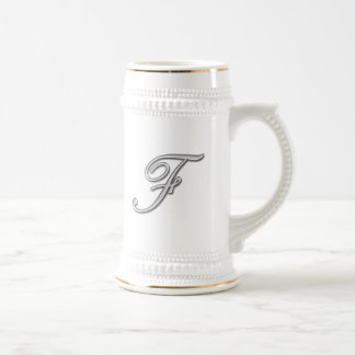 Elegant Glass Monogram Letter F Coffee Mug