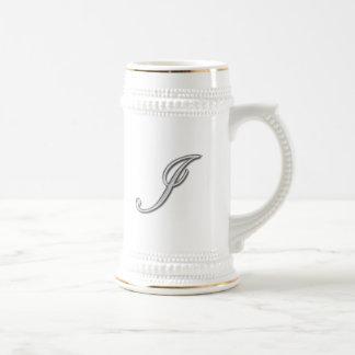Elegant Glass Monogram Letter I Beer Steins