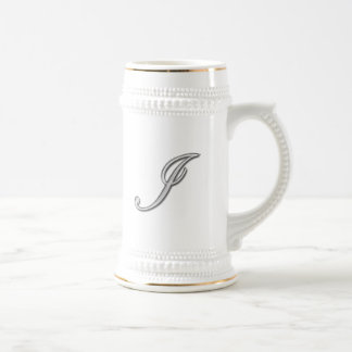 Elegant Glass Monogram Letter I Coffee Mugs