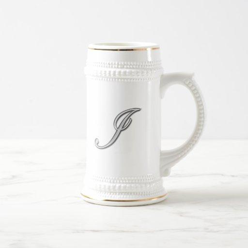 Elegant Glass Monogram Letter I Coffee Mugs