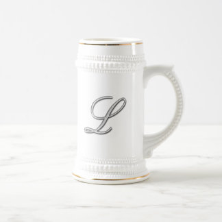 Elegant Glass Monogram Letter L Coffee Mugs