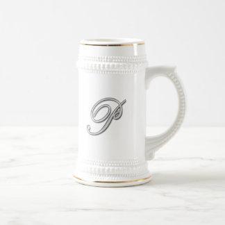 Elegant Glass Monogram Letter P Mugs