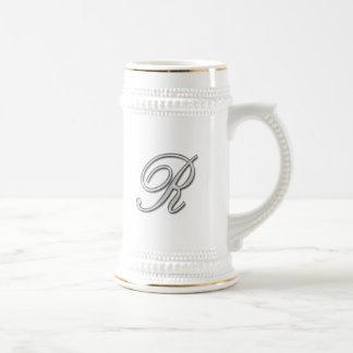 Elegant Glass Monogram Letter R Beer Steins