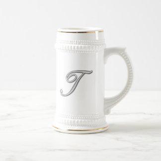 Elegant Glass Monogram Letter T Beer Stein