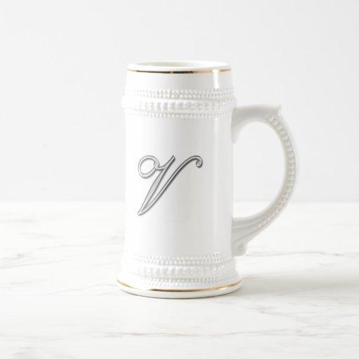 Elegant Glass Monogram Letter V Mugs