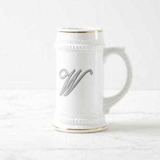 Elegant Glass Monogram Letter W Beer Steins