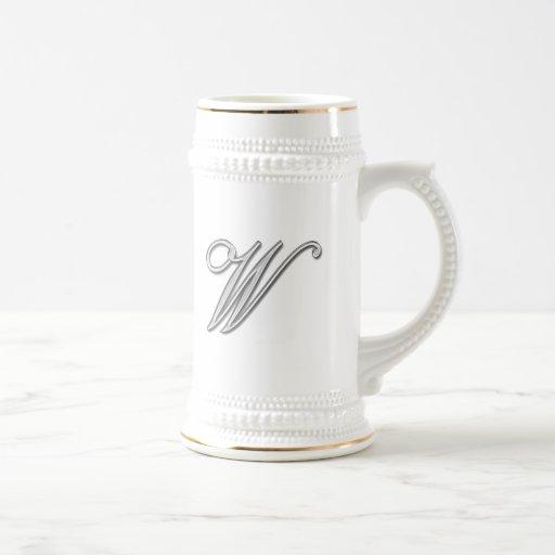 Elegant Glass Monogram Letter W Mug