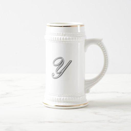 Elegant Glass Monogram Letter Y Mug