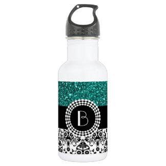 Elegant Glitter and Damask Pattern with Monogram 532 Ml Water Bottle