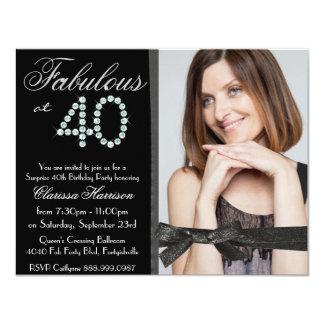 Elegant Glitter Diamond Fab 40 Photo Birthday 11 Cm X 14 Cm Invitation Card