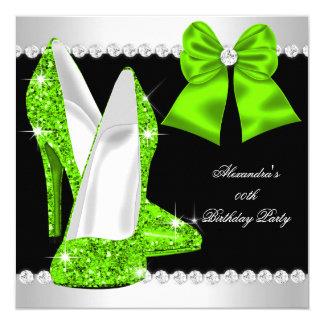 Elegant Glitter Lime Green High Heels Birthday 13 Cm X 13 Cm Square Invitation Card
