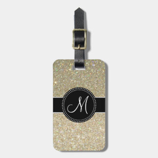 Elegant Glitter Luggage Tag w/ leather strap
