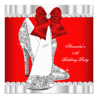 Elegant Glitter Red Glamour High Heels Silver 2 13 Cm X 13 Cm Square Invitation Card