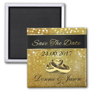 Elegant Glitter Wedding Rings Save the Date Magnet