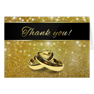 Elegant Glitter Wedding Rings - Thank You Card