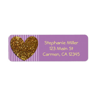 Elegant Glittered Gold Heart and Purple Background Return Address Label