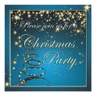 "Elegant Glowing Night Christmas Tree Party Invite 5.25"" Square Invitation Card"