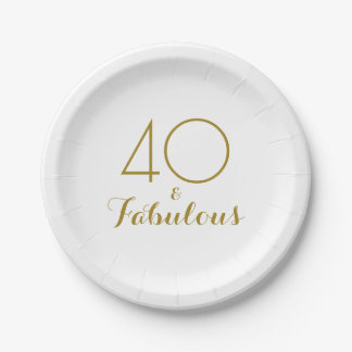 Elegant Gold 40 and Fabulous Birthday Party Plates 7 Inch Paper Plate