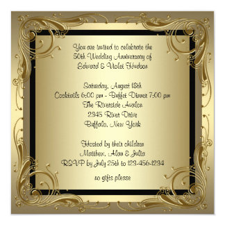 Elegant Gold 50th Wedding Anniversary Party 13 Cm X 13 Cm Square Invitation Card
