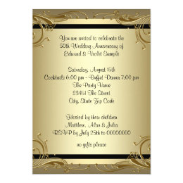 Simple gold wedding anniversary party invitations announcements elegant gold 50th wedding anniversary party card stopboris Image collections