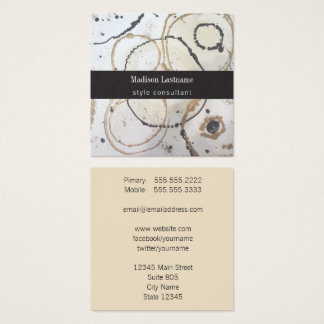 Elegant Gold and Black Abstract Square Business Card