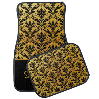 Elegant Gold and Black Damask Monogram Car Mats