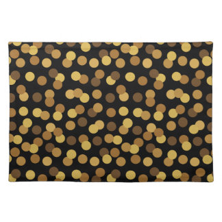 Elegant Gold And Black Polka Dots Pattern Placemat