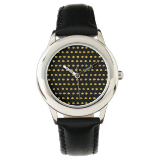 Elegant Gold and Black Small Polka Dots Pattern Watch