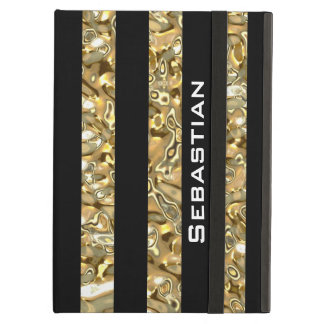 Elegant Gold and Black Striped iPad Air Case