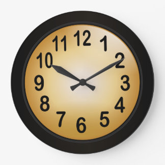 Elegant Gold and Black with Bold Black Numbers Large Clock