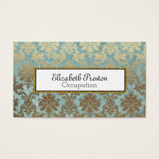 Elegant Gold and Blue Damask Professional Business Card