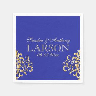 Elegant Gold and Blue Damask Wedding Napkins Paper Napkin