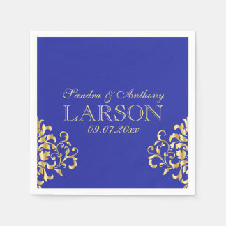 Elegant Gold and Blue Damask Wedding Napkins Paper Serviettes