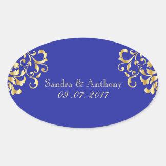 Elegant Gold and Blue Damask Wedding Stickers