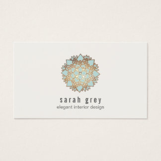 Elegant Gold and Blue Lotus Flower Business Card