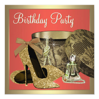 Elegant Gold and Coral Guava Birthday Party Card